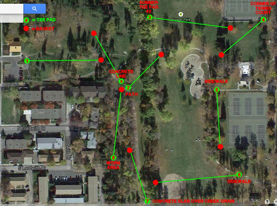 Winter Summer Disc Course Maps Pioneer Park Billings MT